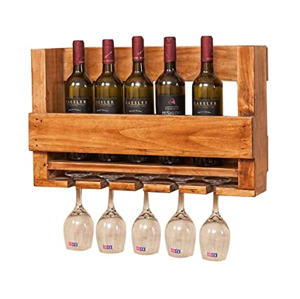 SKC Lighting-Estantería de vino Moderno minimalista de madera colgante de pared Wine Rack Bar