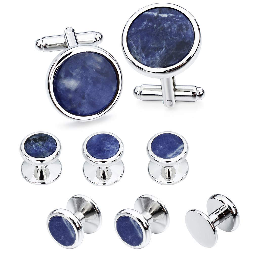HAWSON Mother of Pearl Man Tuxedo Shirt Studs and Cufflinks Set for Wedding Business (Silver Tone- Blue Vein)