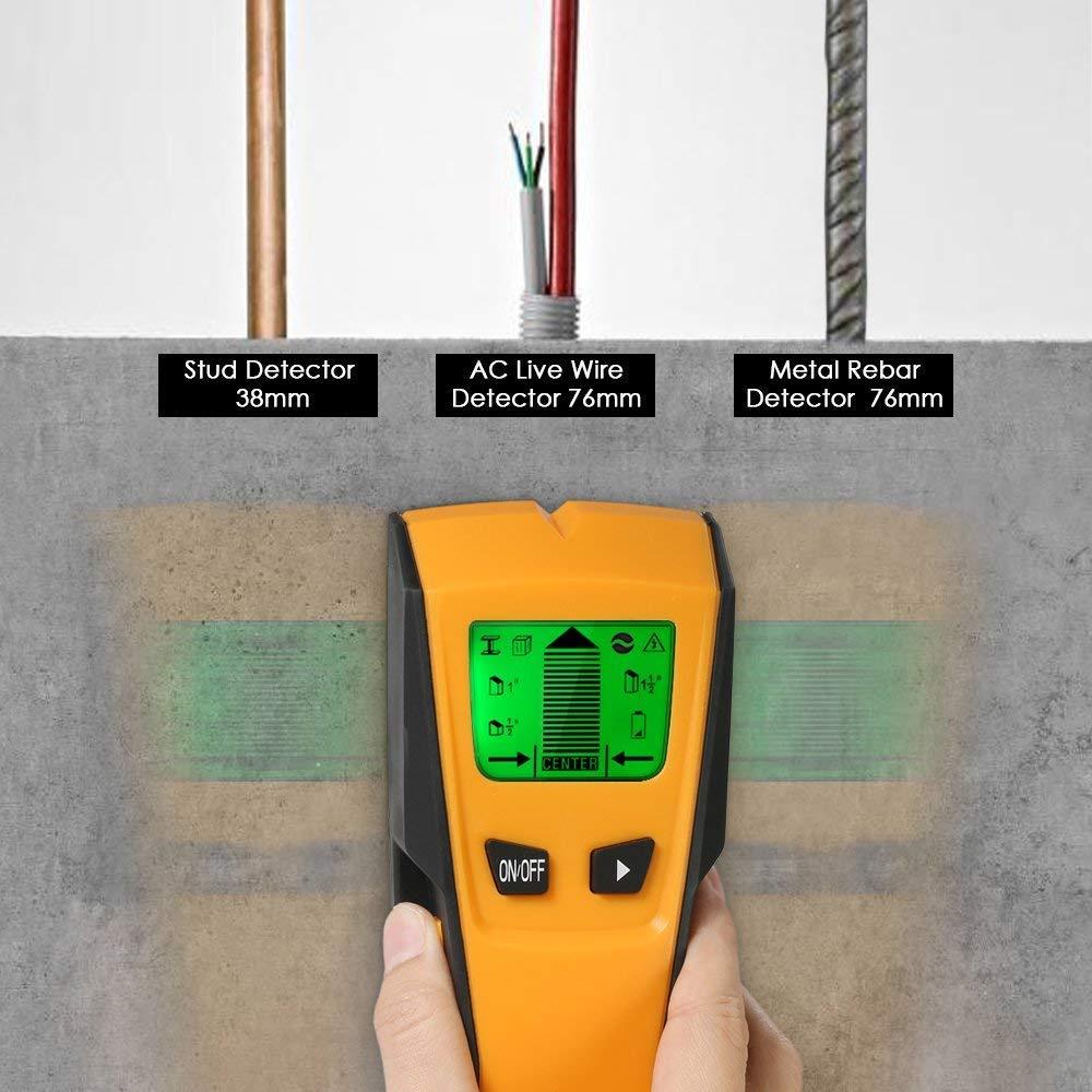 Flybiz Detector de Pared Encontrar Stud Finder con 3-en-1 Metal AC Alambres Escáner de Madera con Pantalla LCD Retroiluminada,Para Detecta AC Cable ,Metal ...