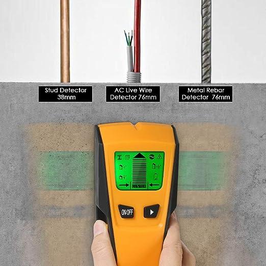 Fetanten D/étecteur Num/érique de Construction 4 en 1 de d/étecteur de mat/ériau de construction de Housse de Protection Profondeur de D/étection Maxi Acier Cuivre C/âble /Électriques Sous Tension