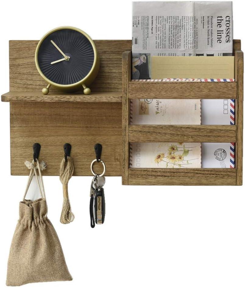 Organizador de sobres con 3 ganchos para llaves Clasificador de correo de madera Entrada de abrigo Perchero gancho de llave almacenamiento de cartas ...