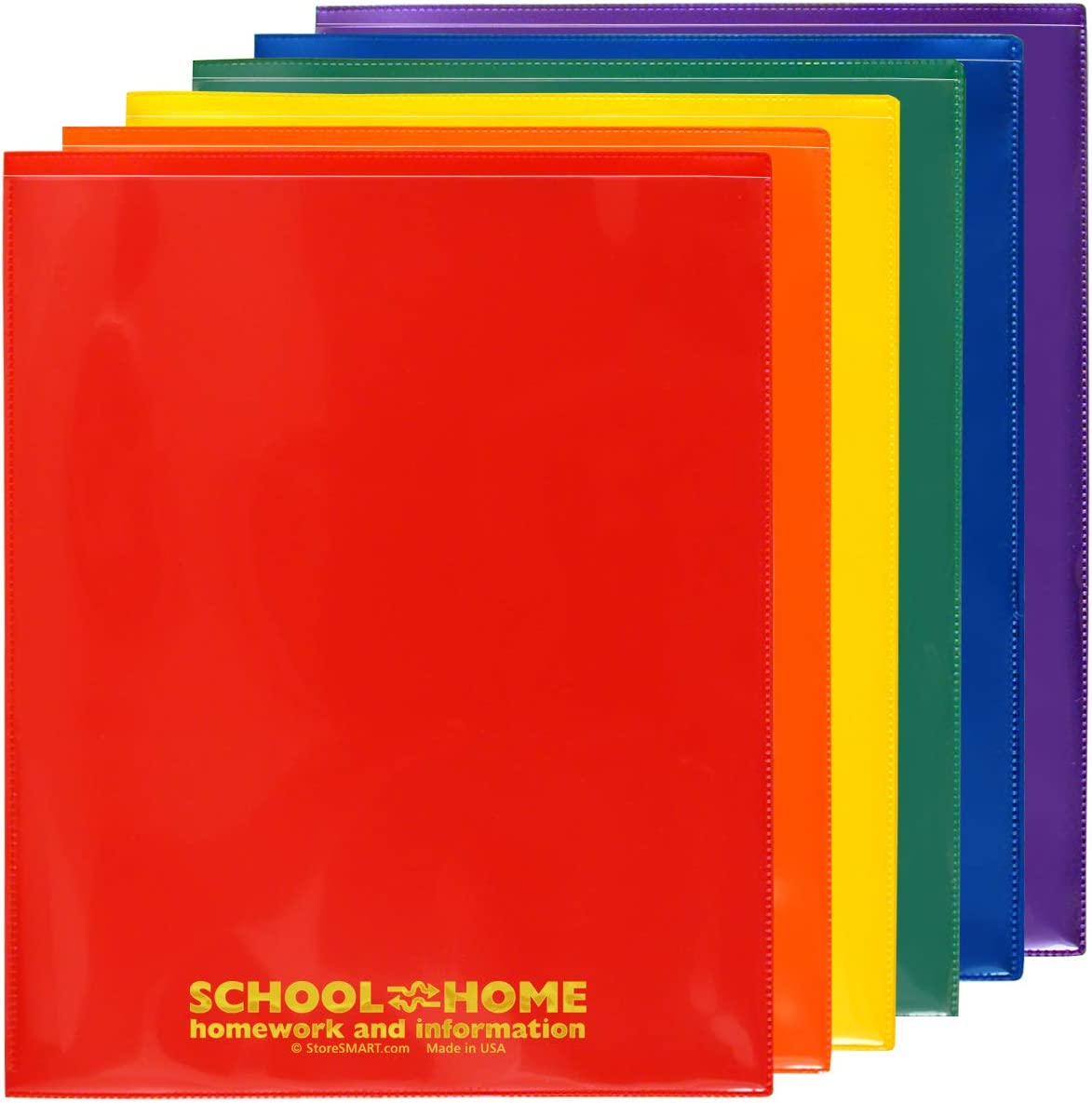 StoreSMART School/Home Folders - 6-Pack - 6 Colors! - Letter-Size Twin Pocket - Durable, Archival Plastic - SH900PCP6ENG