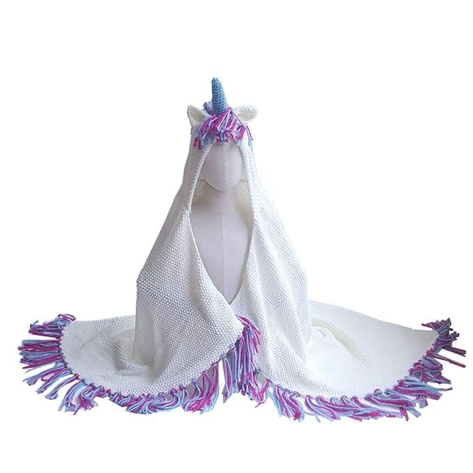 TENDYCOCO Unicornio de punto colorida linda manta de lana suave capa ...