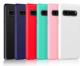 VGUARD 6 x Funda para Samsung Galaxy S10 5G, Ultra Fina Carcasa Silicona TPU de Alta Resistencia y Flexibilidad (Negro, Azul Oscuro, Rojo,Verde, Rosa, ...