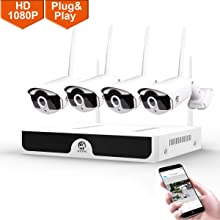 1080P Wireless Security Camera System,JOOAN 4×2MP Full HD Home Surveillance Outdoor WiFi CCTV Cameras with 4 Channel H.265 NVR & Motion Detection & Email Alarm&Super Night Vision(2019New)