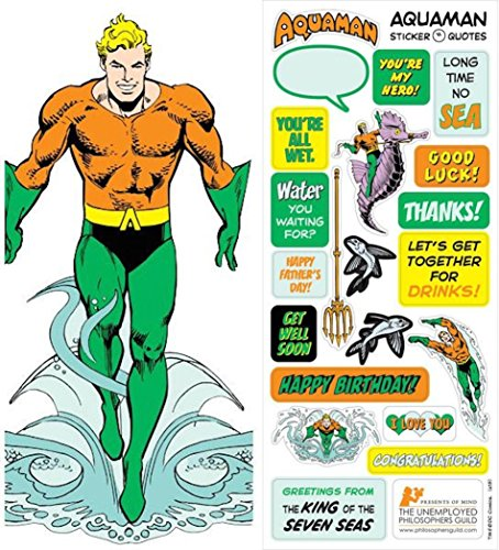 DC Comics Aquaman Quotable Notable - Die Cut Silhouette Greeting Card and Sticker Sheet