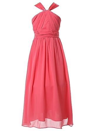 HAPPY ROSE Party Dresses Juniors Long Bridesmaid Dress Girls Dress Coral 4