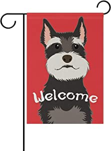 My Daily Welcome Schnauzer Dog Decorative Double Sided Garden Flag 12 x 18 inch Garden Banner Yard Flag