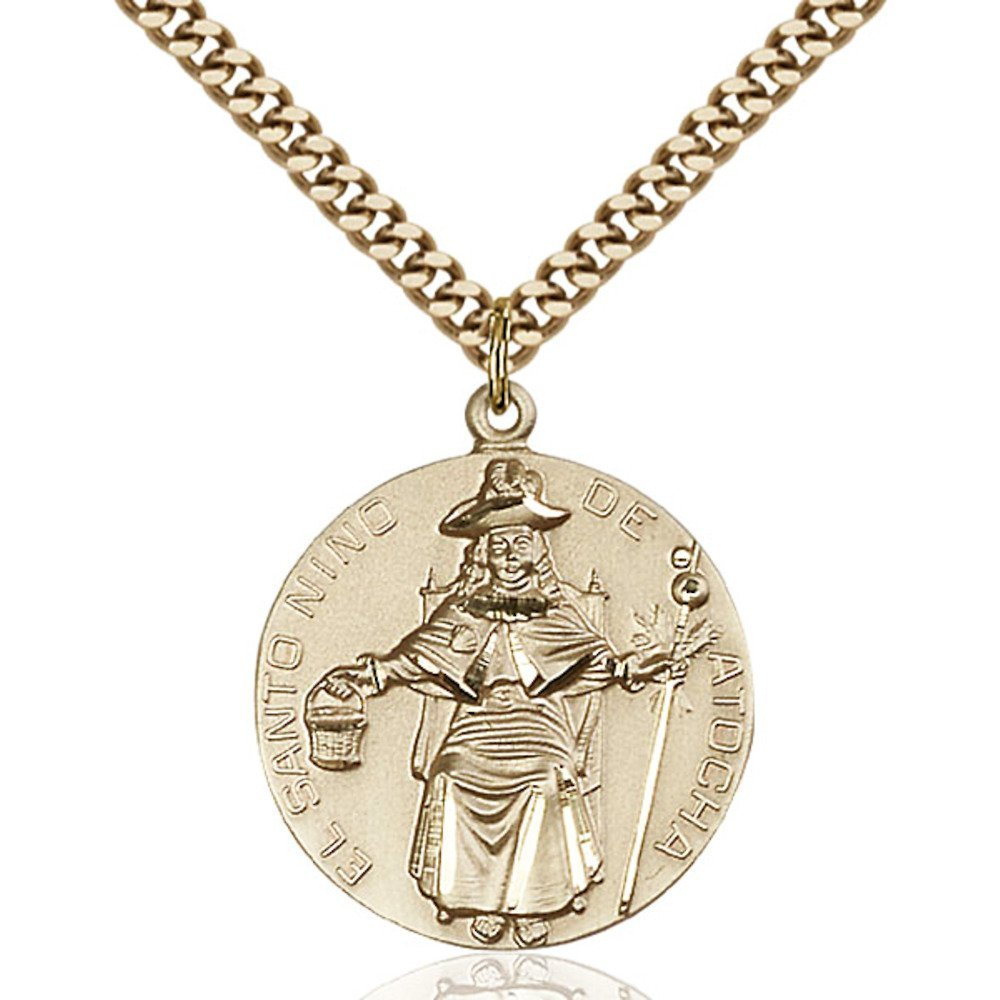 Gold Filled St. Ni?o de Atocha Pendant 1 x 7/8 inches with Heavy Curb Chain by Bonyak Jewelry Saint Medal Collection