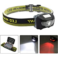 Blinkle HeadTorch Ultra Bright Headlamps CREE LED 4 Modes Headlamp with Red Headlight Waterproof AAA Battery Powered for Running Camping Reading DIY