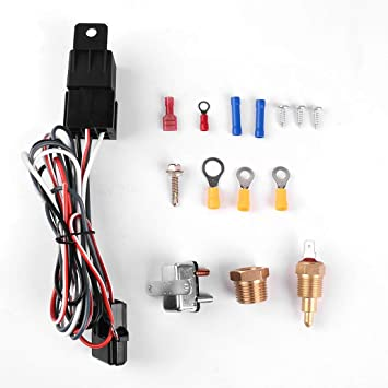 Universal Electric Radiator Engine Fan Relay Kit Thermostat Temperature Switch