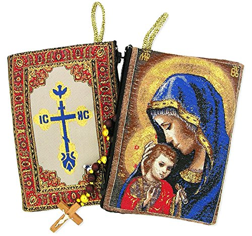 Religious Gifts Madonna and Child Mother's Embrace Icon Cloth Tapestry Rosary Pouch, 5 3/8 Inch