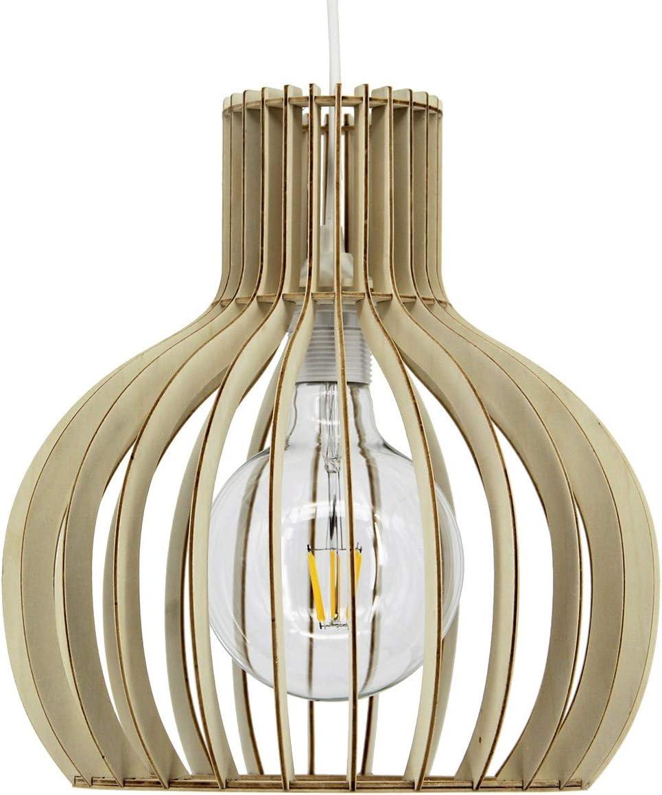 Nistone - Lámpara de techo de láminas de madera de estilo natural ...