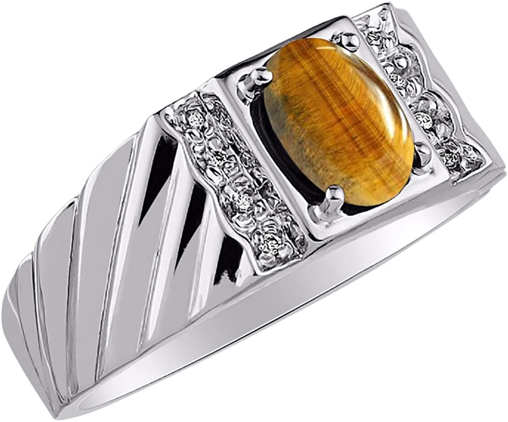Mens Diamond /& Tiger Eye Ring Sterling Silver or Yellow Gold Plated or Sterling Silver or Yellow Gold Plated