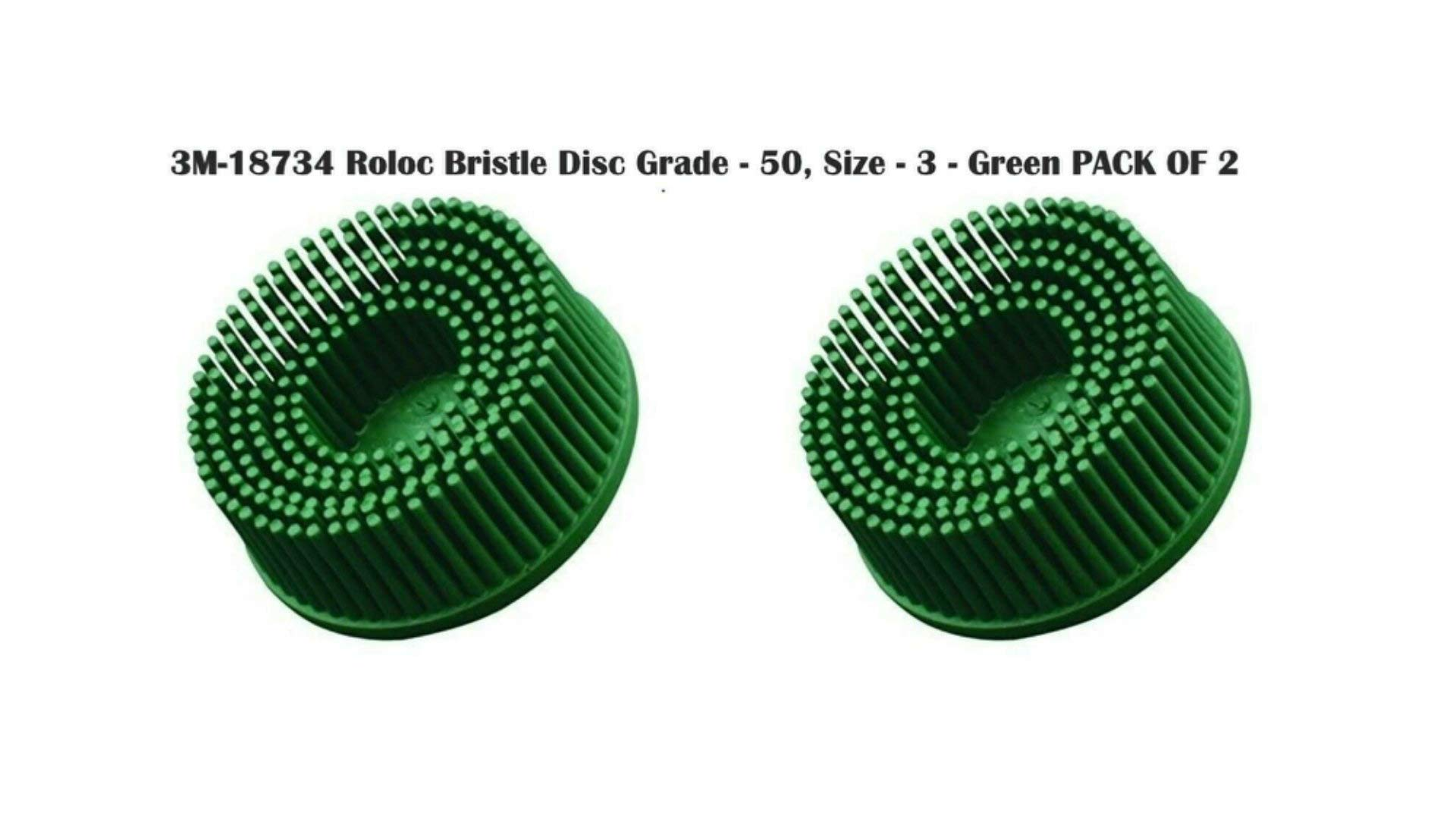3M Roloc Bristle Disc Grade - 50, Size - 3 - Green Pack of 2