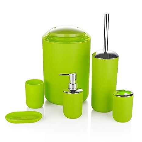 STELLA 6 Piezas Accesorio de Baño Juego Papelera JABONERO Dispensador Vaso portacepillo de dientes - green