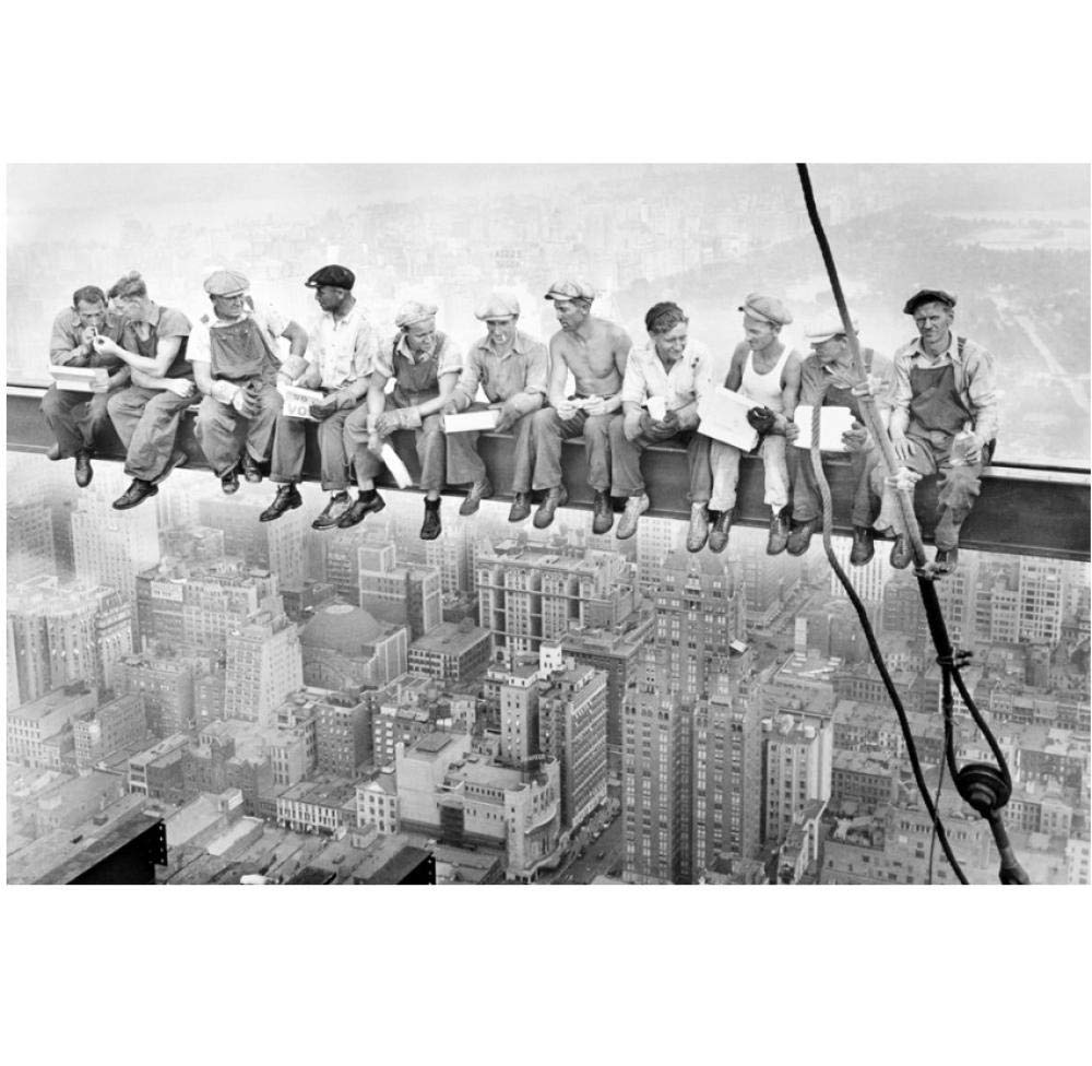 Construction Workers New York City Retro Poster Art Wall Pictures for Living Room Canvas Print 60X90cm No Framed