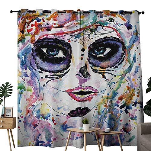 NUOMANAN Blackout Curtains Sugar Skull,Halloween Girl with Sugar Skull Makeup Watercolor Painting Style Creepy Look,Multicolor,for Bedroom,Nursery,Living Room -