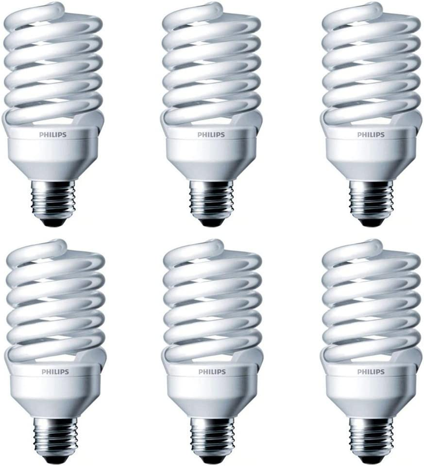 Philips LED 414060 Energy Saver Compact Fluorescent T2 Twister (A21 Replacement) Household Light Bulb: 4000-Kelvin, 23-Watt (100-Watt Equivalent), E26 Medium Screw Base, Cool White, 6-Pack