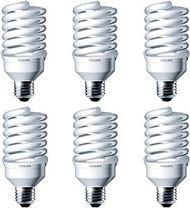 Philips LED 414060 Energy Saver Compact Fluorescent T2 Twister (A21 Replacement) Household Light Bulb: 4000-Kelvin, 23-Watt (100-Watt Equivalent), E26 Medium Screw Base, Cool White, 6-Pack