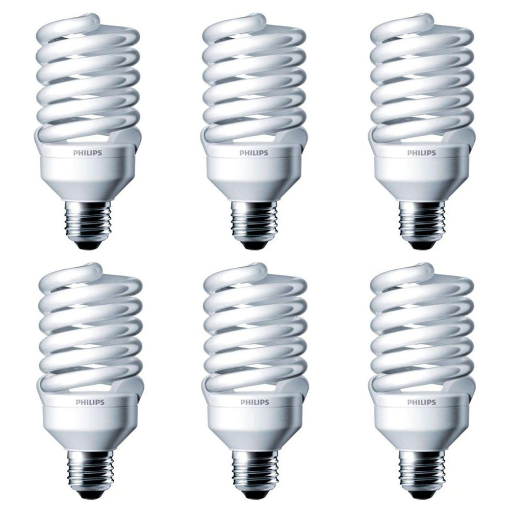 Philips 414060 100 Watt Equivalent Compact Fluorescent Twister Light Bulb, Cool White, 6 Pack