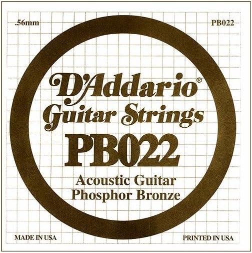 D'Addario PB022 - Cuerda individual para guitarra acústica, entorchada en bronce fosforado.022, naranja