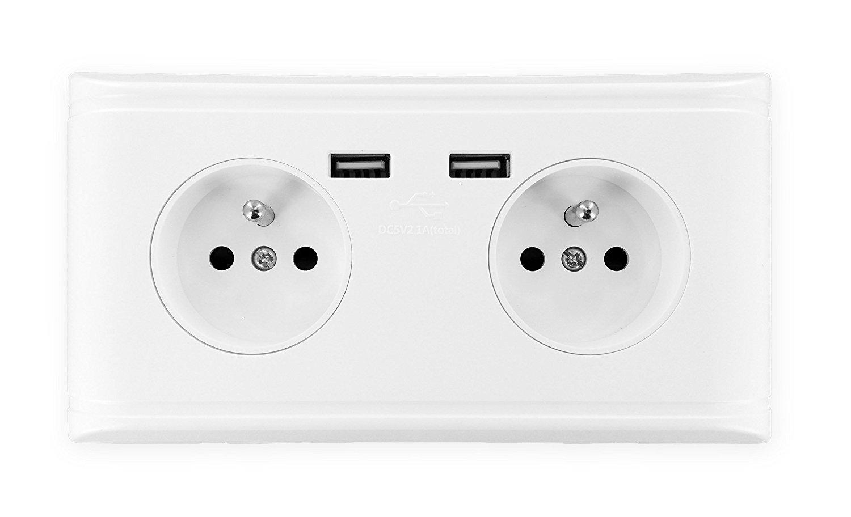 Kit de double prise murale pr/éc/âbl/ée terre et double chargeur USB 2.1A Prises Fran/çaises type E