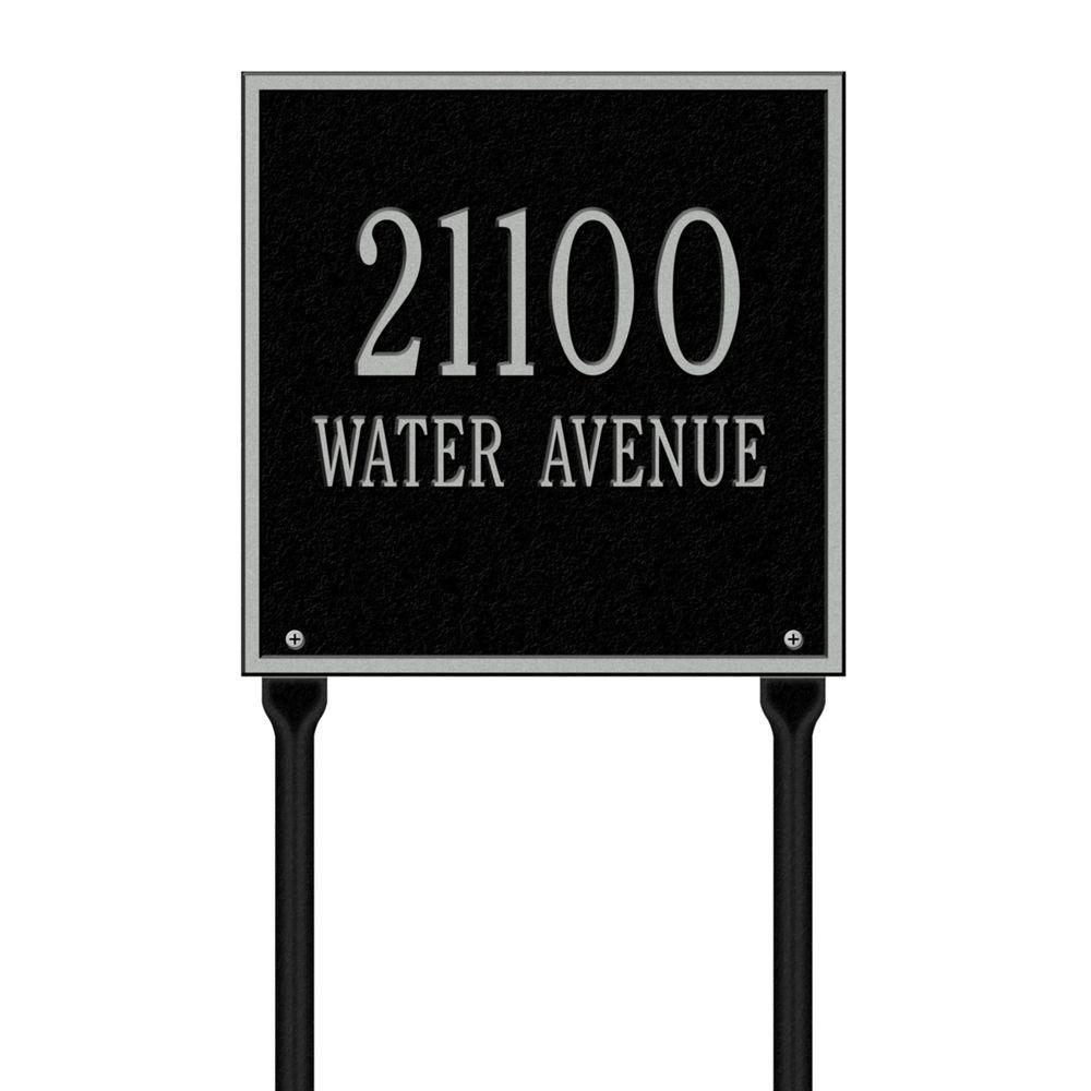 Whitehall製品Square標準Lawn複線アドレスPlaque – ブラック/シルバー B00A3RBVAI