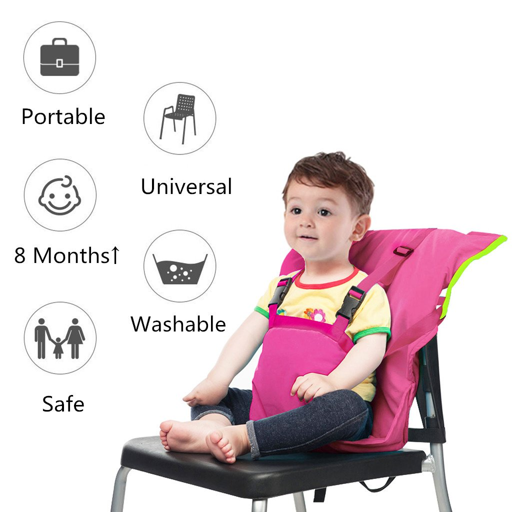 Vine Chaise Nomade pour Bébé Tissu de voyage portable Chaise haute siège  d appoint pour infant Harnais de Sécurité Siège, Rose  Amazon.fr  Bébés    ... b1553dd051c