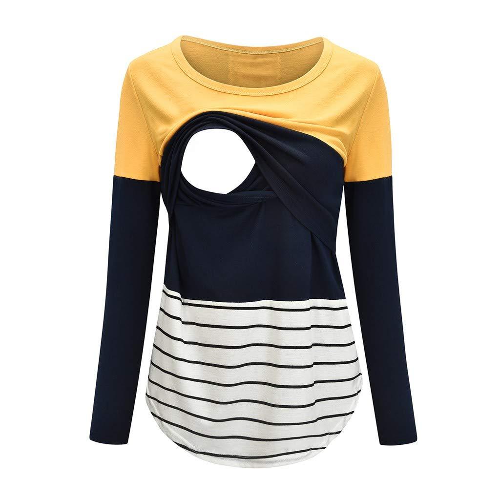 Muamaly Stillshirt Langarm Damen Gestreift Rundhals Umstandsshirt Herbst Umstandstop Mutterschafts Shirt Umstandsmode