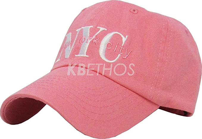 88bb9857329 DS NYC New York City Washed Polo Style Baseball Ball Cap Hat 100% Cotton NEW