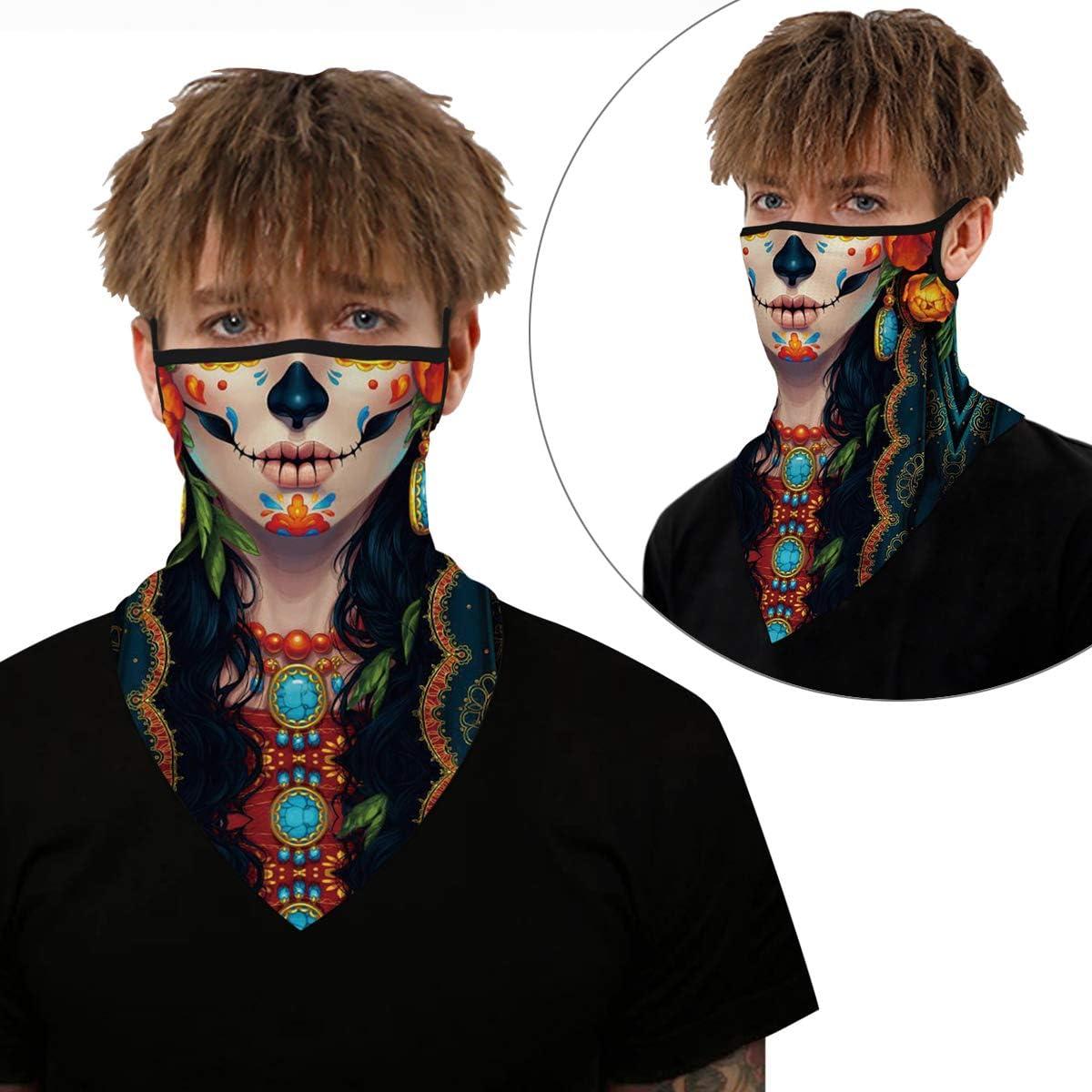 Neck Gaiter Ear Loops Bandanas for Women Men UV Wind Outdoor Cycling Hanging Balaclava face mask