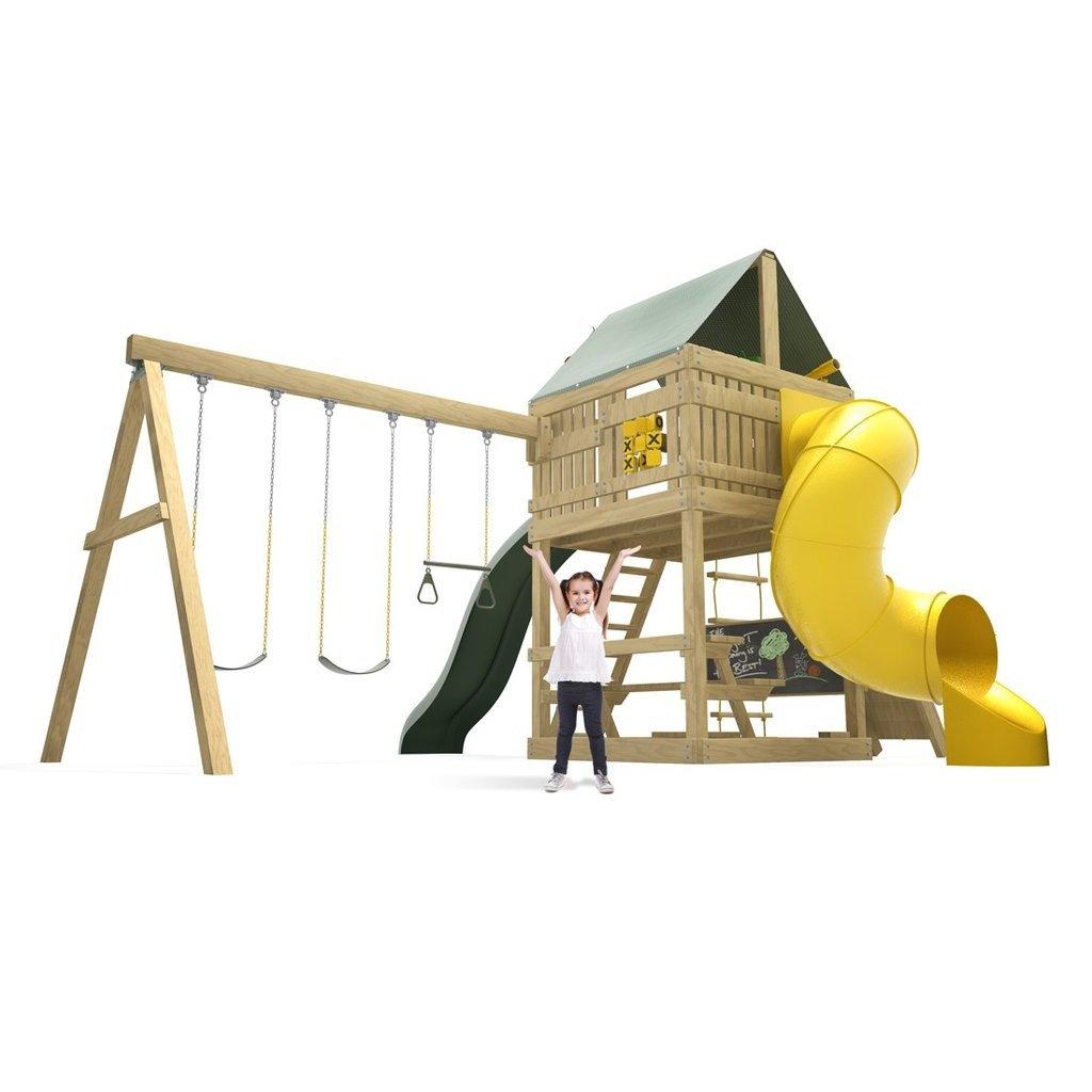 究極スイングセット:デラックススパイラルスライド、10 ft Waveスライド、ロッククライミング壁、2 Swings & Trapeze B06Y56MG83