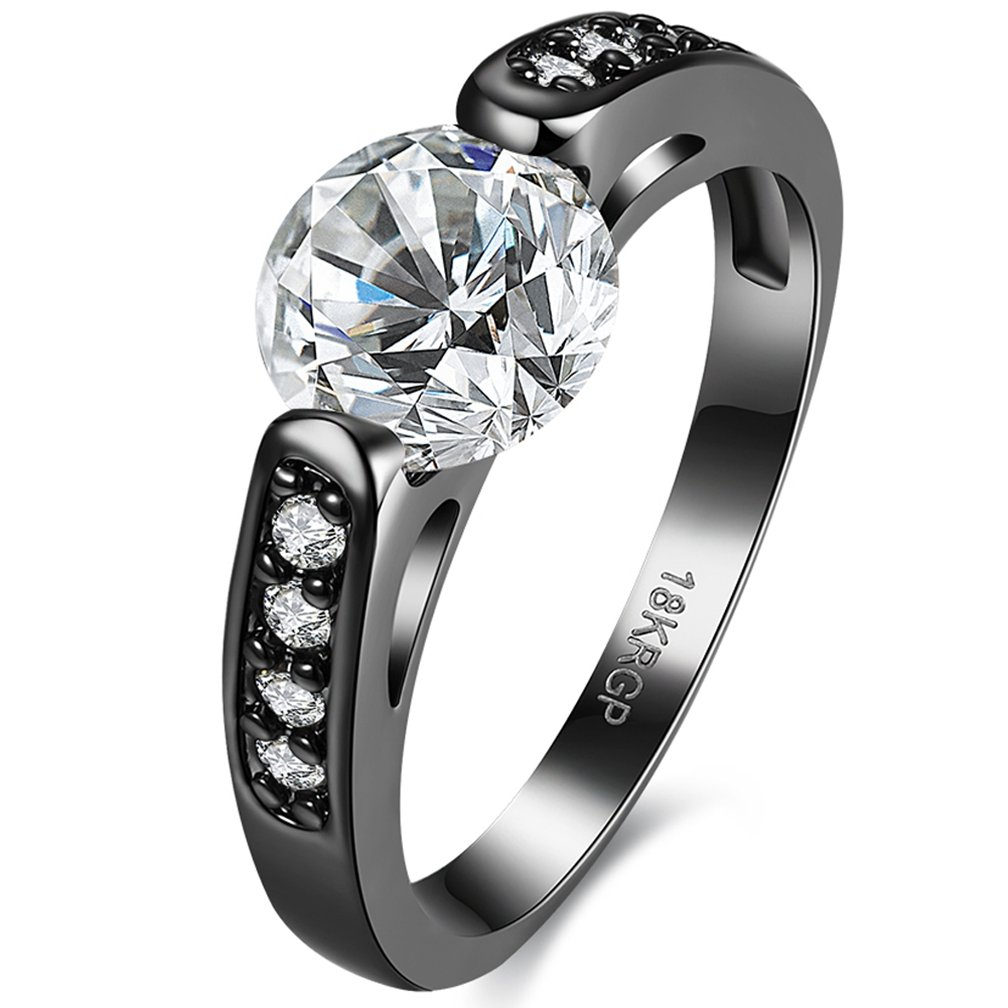 Jewelry Created Diamond Tungsten Stainless Steel Black Gold Plated Christmas Engagement Wedding Best Friend Rings for Womens Size 6