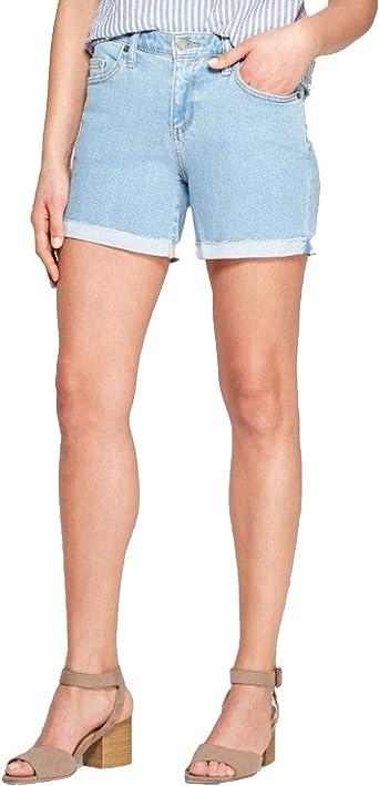 Universal Thread Women/'s High-Rise Roll Cuff Bermuda Jean Shorts