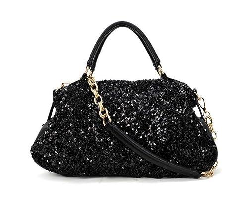 Phabdeals Women Shiny PU Leather Handbag Tote Black Sequined Crossbody Bag  Top-Handle Bag  Amazon.in  Shoes   Handbags 357586328e