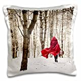 3dRose Little Red Riding Hood Fairy Tale Snowy Woods Winter Day Photo Pillow Case, 16 x 16''