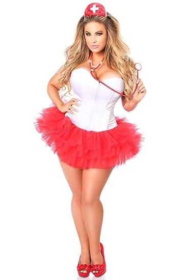 7d4d43c2931 Daisy Corsets Women s Plus-Size Lavish Plus Size Flirty Nurse Corset Costume   Amazon.co.uk  Clothing