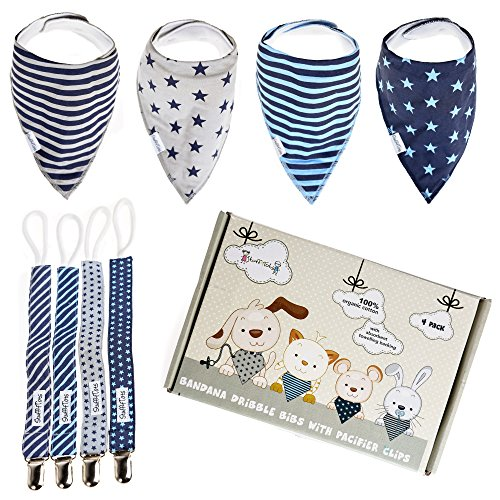 Bandana Drool Bibs & Pacifier Clips Gift Box (4 Pack Boys). Organic Cotton. Double Layered Moisture (Party Stuff Online)