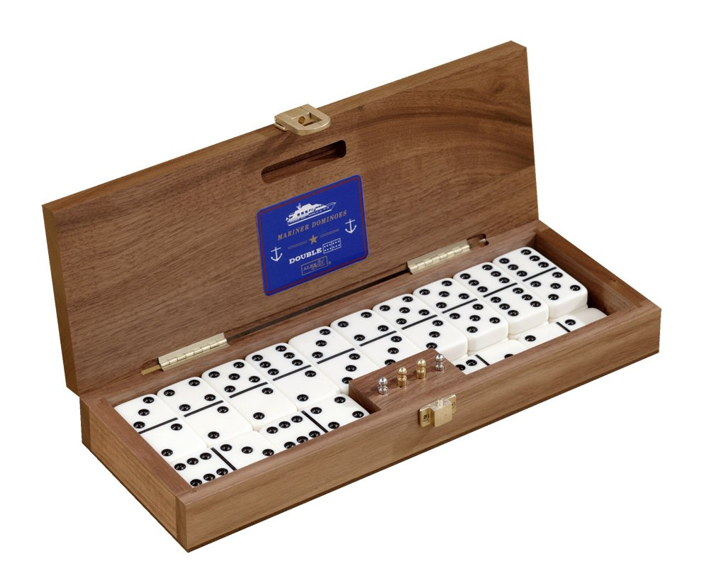 Mariner Classic Domino Set with Black Walnut Case - Premium Quality 28 Indestructible Double-Six Dominoes with 2 18 Karat Gold-plated and 2 Nickel-plated Scoring Pegs