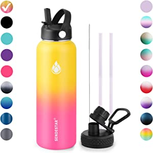 SENDESTAR Stainless Steel Water Bottle - Double Wall Vacuum Insulated Leak Proof, Keeps Liquids Hot or Cold, 2 or 3 Lids, Wide Mouth with Straw Lid, Spout Lid 32 oz, 40 oz (32oz- 2lids, Yellow&Pink)