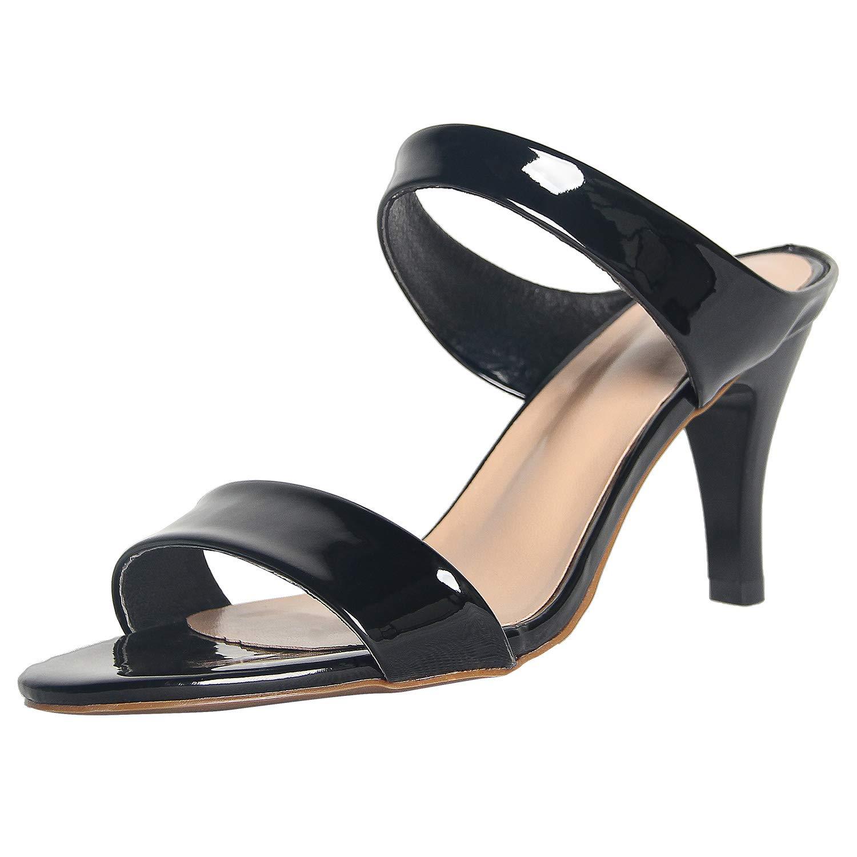 4THSEASON Womens Open Back Heeled Sandals Open Toe Slip-On Strappy Casual Pump Slide Sandals Black Size 9 by 4THSEASON