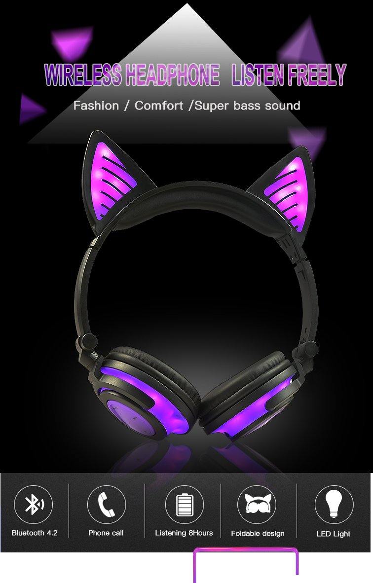 Wireless Over Ear Bluetooth Headsets LED Light Cute Cat Ear Headphones for Girls, Up Foldable Over Ear Use for Phones, PC, MP3, MP4. (Purple Ear)