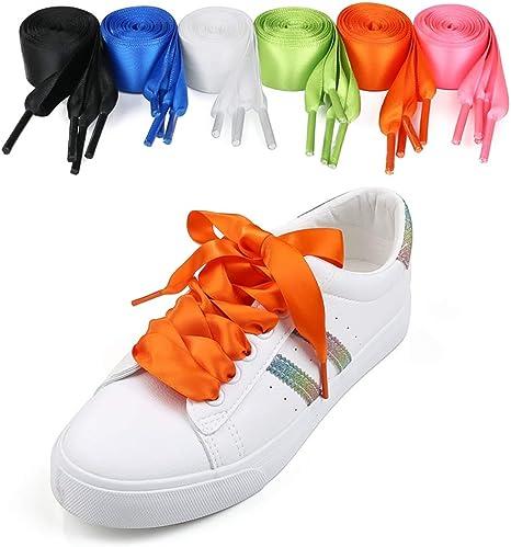 6 Pares de Cordones de satén Cordones Anchos y Planos para Damas, niñas, niños y Adultos Prendas Deportivas a Prueba de Agua Zapatillas para Correr Zapatillas Deportivas Zapatillas de Raso: Amazon.es: Deportes