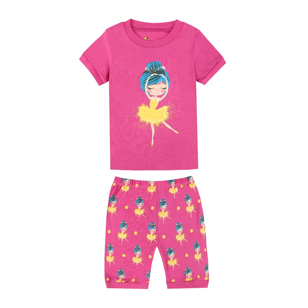 TinaLuLing Ballet Dance Girls 2pc Pajamas Sets Children Sleepwear Summer Clothing Sets (CG24, 6-7 Years)
