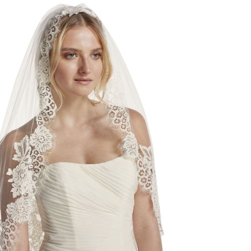 Mid Veil with Trailing Lace Style WPD16266M, White