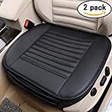 Carmoni PU Leather Seat Cushion Cover, Breathable Protection Chair Cushion Mat Pad, Soft Car Seat Cover for Auto Car Supplies Office-2 Packs (Black)