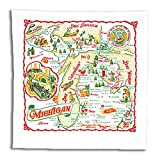 Red & White Kitchen Michigan Map Kitchen Dish Towel - State Souvenir Vintage Retro MI01-RWK