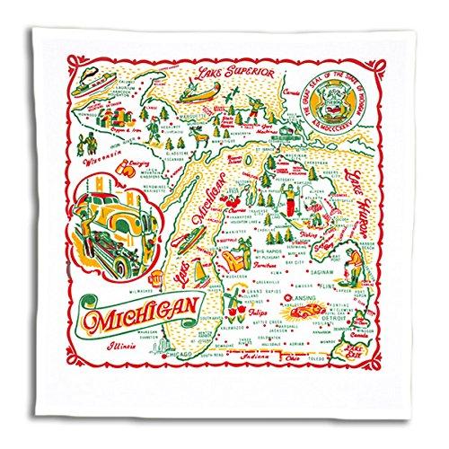 Red & White Kitchen Michigan Map Kitchen Dish Towel - State Souvenir Vintage Retro MI01-RWK