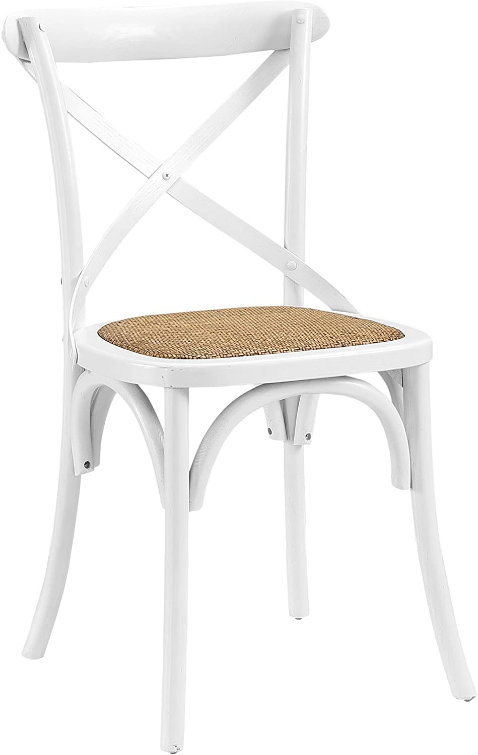 Modway Gear Rustic Farmhouse Elm Wood Rattan Kitchen and Dining Room Chair in White - Fully Assembled